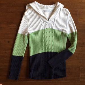 Color-blocked pullover sweater